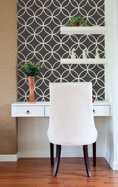 Love the black and white color combo, the stencil, and the small desk area.