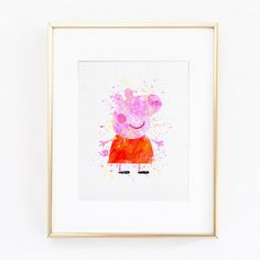 Peppa Pig Watercolor silhouette Fine Art Print by ColorMeGoodd