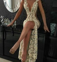 2016 Custom Charming Gold Beading Lace Prom Dress,Sexy Deep V-Neck Evening Dress,Sexy See Through Backless Prom Dress