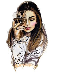 Fashion illustration portrait painting sketch of a young woman with wine glass, created with paint, ink,.