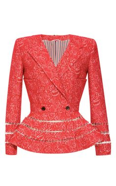 Shop Woven Jacquard Jacket with Ladder Stitched Peplum by Thom Browne Now Available on Moda Operandi