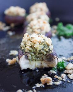 Kale Pesto Stuffed Mushrooms-- a super star appetizer made light healthy crunchy and loaded with flavor!