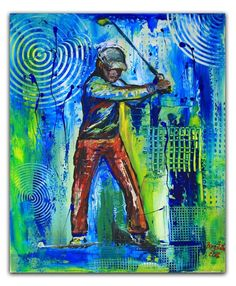 BURGSTALLER ORIGINALGolf Gemälde Bild Golfer Golfspieler Malerei Turnierpreis 71