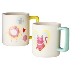 Donut and Cat Valentine's Day Coffee Mug Set - Sweet! Valentines Day