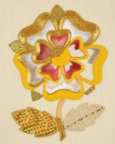 Part-worked Tudor Rose showing felt padding