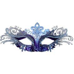 Gisela Graham Glitter Filigree Venetian Face Mask Glasses Black//Silver//Pink//Blue