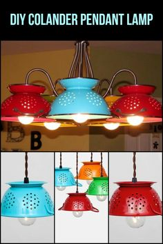 Get those creative juices flowing and make these stylish and functional colander pendant lamps!