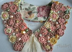 Fusion crochet: Crochet collar for a fabric dress. I wouldn't wear it myself, but the craftsmanship is amazing . Silk Ribbon Embroidery, Hand Embroidery, Embroidery Designs, Crochet Collar, Beaded Collar, Freeform Crochet, Irish Crochet, Crochet Flowers, Crochet Lace
