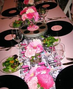 Would be Great for a 50's birthday party.....pretty in pink!!!  records as place settings??? brillant!!!
