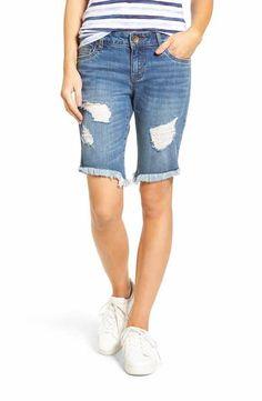 KUT from the Kloth Distressed Frayed Hem Denim Bermuda Shorts