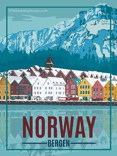 Norway Bergen – Vintage Travel Poster - New Site Places To Travel, Travel Destinations, Poster Retro, Norway Travel, Spain Travel, Poster Design, Art Deco Posters, Poster Prints, Vintage Travel Posters