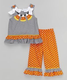 Loving this Black Gingham Candy Corn Necklace Tunic & Pants - Toddler & Girls on #zulily! #zulilyfinds