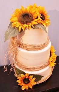"Country Sunflower with Straw Wedding Cake, 2, 3, or 4 Tier, 6"", 8"", 10"", 12"", White or Chocolate, (Floral May Vary)"