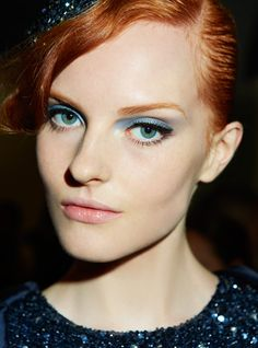 Giorgio Armani's spring 2013 turquoise eye. | http://www.makeup.com/article/giorgio-armani-spring-2013-blue-eyeshadow-how-to/