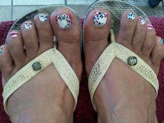 Rainbow cheeta toe design by JJSisters