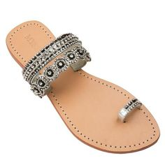 Mystique Sandals features unique hand crafted leather women's sandals that are embellished with jewelry Toe Ring Sandals, Cute Sandals, Toe Rings, Ankle Strap Sandals, Black Sandals, Mystique Sandals, Rhinestone Sandals, Jeweled Sandals, Leather Sandals Flat