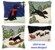 Black Lab decorative Christmas Pillows, Black Labrador Retriever products