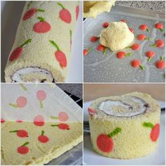 Who Wants to Bake This Cherry Patterned Swiss Roll? Makes me want to bake cakes every day :o) Swiss Roll Cakes, Swiss Cake, British Bake Off Recipes, Great British Bake Off, Cake Roll Recipes, Pastry Design, Patterned Cake, Holiday Pies, Log Cake