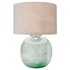 Amalfi Coastal Beach Green Seeded Glass Lamp | Kathy Kuo Home