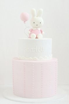 Cutest cake for a little girl baby shower...needs a bit of gray in there someplace...maybe elephant on top instead of bunny?