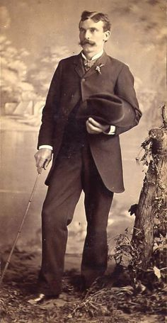 1880 Morning Suit Eugene Garnier is wearing a natty morning suit with the very western addition of a stetson hat. He is also carrying a bamboo cane and ...