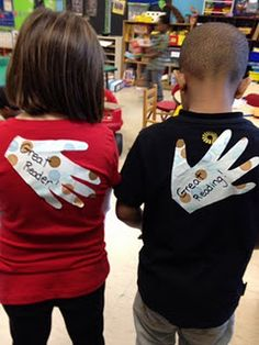 A Pat On The Back...The hands are just traced onto contact paper and cut out. Then when you need them you can write a message and peel of the back, they are like huge stickers. You can use them for all types of rewards and make the kids who receive them so proud. Since they are on their backs they dont play with them and they last all day.