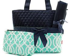 Vine Diaper Bag comes in mint and navy, coral and navy, and navy and navy.  etsy.com/shop/threelittlechickadee