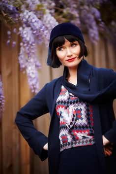 Phryne Fisher {Essie Davis} ~ Miss Fisher's Murder Mysteries. Lovely outfit.  Jasmine for the blouse.