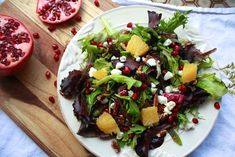 You'l love this festive salad with pomegranate seeds, goat cheese, orange and pecans. #fodmap