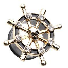 Pair of Gold-Tone IP Steel Nautical Ship Wheel Ear Plugs Tunnels Screw Fit w//Clear CZ Gems