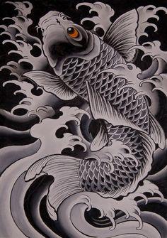 Chris Garver- To match the one I already have on my left rib cage. Pez Koi Tattoo, Koi Tattoo Sleeve, Carp Tattoo, Koi Tattoo Design, Tribal Tattoo Designs, Japanese Tattoo Art, Japanese Tattoo Designs, Japanese Sleeve Tattoos, Chris Garver