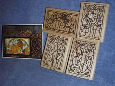 stampin up STAINED GLASS-cornucopia-flowers-quail-hummingbird-lot + card #StampinUp