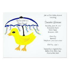 Adorable Baby Shower Invitations with a cute Yellow Rubber Ducky Navy Blue Umbrella with pink, yellow and blue ribbons.  Perfect for baby boy or baby girl gender neutral.  PERSONALIZE with YOUR party details at no additional charge.  CLICK on store link to see matching accessories:  Thank You Notes, real custom Postage Stamps, Cake Pops, Disposable Napkins, Party Favor Gable boxes, etc.  Original Graphic Art Hand-Painted Digital design by TamiraZDesigns via:  www.zazzle.com/tamirazdesigns*