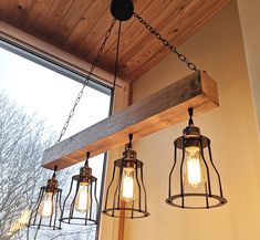Rustic lighting - wood chandelier - rustic chandelier - rustic light fixture - farmhouse chandelier - wooden chandelier - wood beam Farmhouse Lighting, Hanging Lights, Wood Chandelier, Industrial Pendant Lights, Rustic Light Fixtures, Wood Chandelier Rustic, Rustic Light Bulbs, Wood Pendant Light, Diy Chandelier