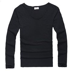 Zbrany Mens Fitted Tops Scoop Neck Long Sleeve T Shirts With Cut Off Border Colour Black Size L