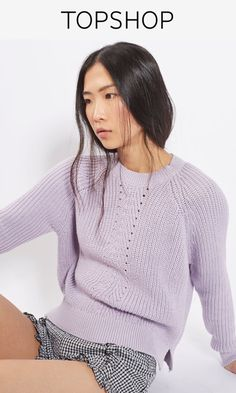 Add a pop of colour to your casual knitwear with this ribbed pointelle detail boxy jumper in a pretty lilac. With a crew neck, it comes in a boxy fit we've thrown over gingham shorts for a trans-seasonal feel.