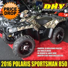 Check out this 2016 #Polaris #Sportsman850 #camo with a MSRP of $8,999 now priced at $7,599 You save $1,400 at #DHYMotorsports #ATV
