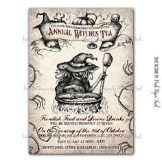 Halloween Invitation - Witches Tea Party - Customizable wordings - printable Invitation