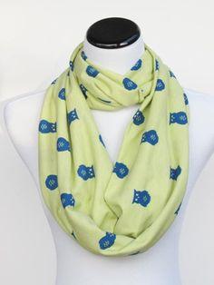 Bird print scarf owl scarf Owl infinity scarf lime citron