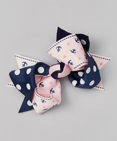 Look what I found on #zulily! Pink & Navy Nautical Double-Tie Bow Clip #zulilyfinds
