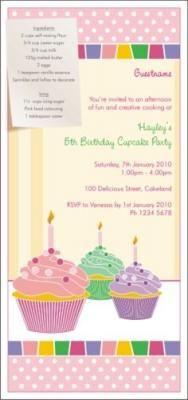 Cupcake birthday party invitations.