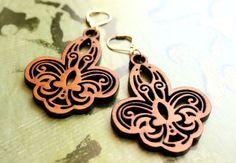 Fleur De Lys Laser Cut Cherry Wood Dangle Earrings on Etsy, $23.50