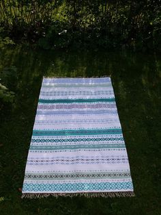 Picnic Blanket, Outdoor Blanket, Recycled Fabric, Scandinavian Style, Woven Rug, Beach Mat, Pattern Design, Recycling, Weaving