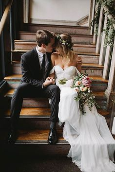 We want a love like the pair from this botanical  bohemian warehouse wedding