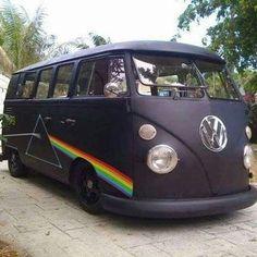 """Pink Floyd """"Dark Side of the Moon"""" hippie van ❤ Volkswagen Bus, Beetles Volkswagen, Vw T1, Vw Camper, Combi Hippie, Hippie Car, Hippie Style, Hippie Life, Imagenes Pink Floyd"""