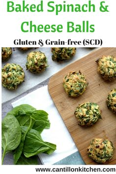 Baked Spinach and Parmesan Cheese Balls - Specific Carbohydrate Diet, Gluten, Spinach And Cheese, Greens Recipe, Cheese Ball, Appetizers For Party, Tray Bakes, Thanksgiving Recipes, Parmesan