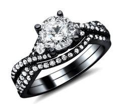 125ct Round Diamond Engagement Ring Wedding Set 18k Black Gold