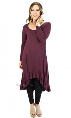 8f5921ff351635 Morrison Oversize Hi Low Ruffle Layering Extender Tunic In Plum Clothing  Size Chart, Dress Shirts