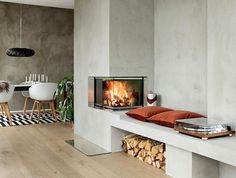 Fireplaces – Scandinavian fireplace inserts in beautiful designs Wood Burning Stove Insert, Scandinavian Fireplace, Fireplace Stores, Wood Burning Fireplace Inserts, Little Dream Home, Farmhouse Trim, Wood Insert, Modern Mountain Home, Wood Interior Design