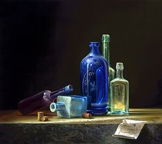 Contemporary Still Life Paintings - Bing images Still Life Photos, Still Life Art, Still Life Photography, Art Photography, Bottle Drawing, Realistic Oil Painting, Magic Realism, Color Pencil Art, Bottle Art